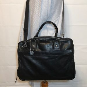 John Varvatos CarryAll Black Leather Messenger Bag
